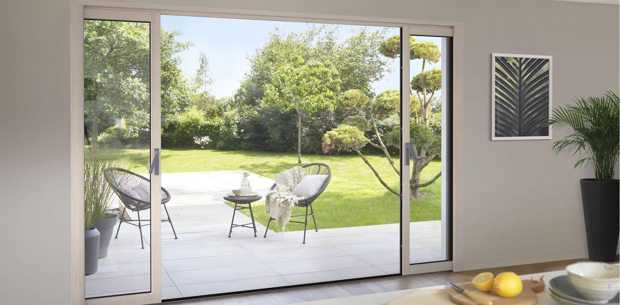 Baie coulissante bois aluminium | MEO, fabricant de baies vitrées et fenêtres coulissantes