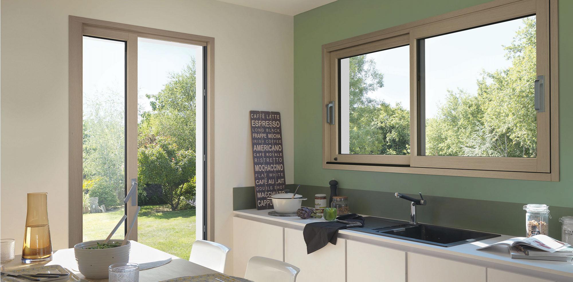 Baie coulissante bois aluminium meo fabricant de baies - Porte fenetre interieur ...